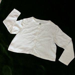 Eileen Fisher White Linen Crop Button Up, Sm, GUC